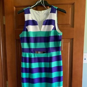 Blue/Teal/white stripe dress